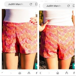 Judith March Orange Pink Crochet Festival Shorts M